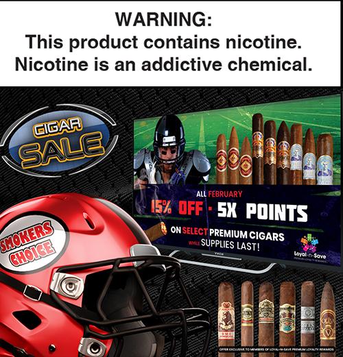 15% OFF select premium cigars